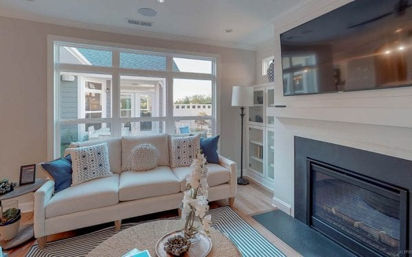 55+ Adult Community Living Room with Fireplace