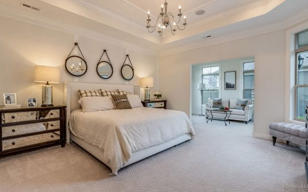 Villas at White Oak Master Bedroom with Chandelier
