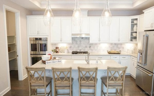 55+ Community White Cabinets with Island